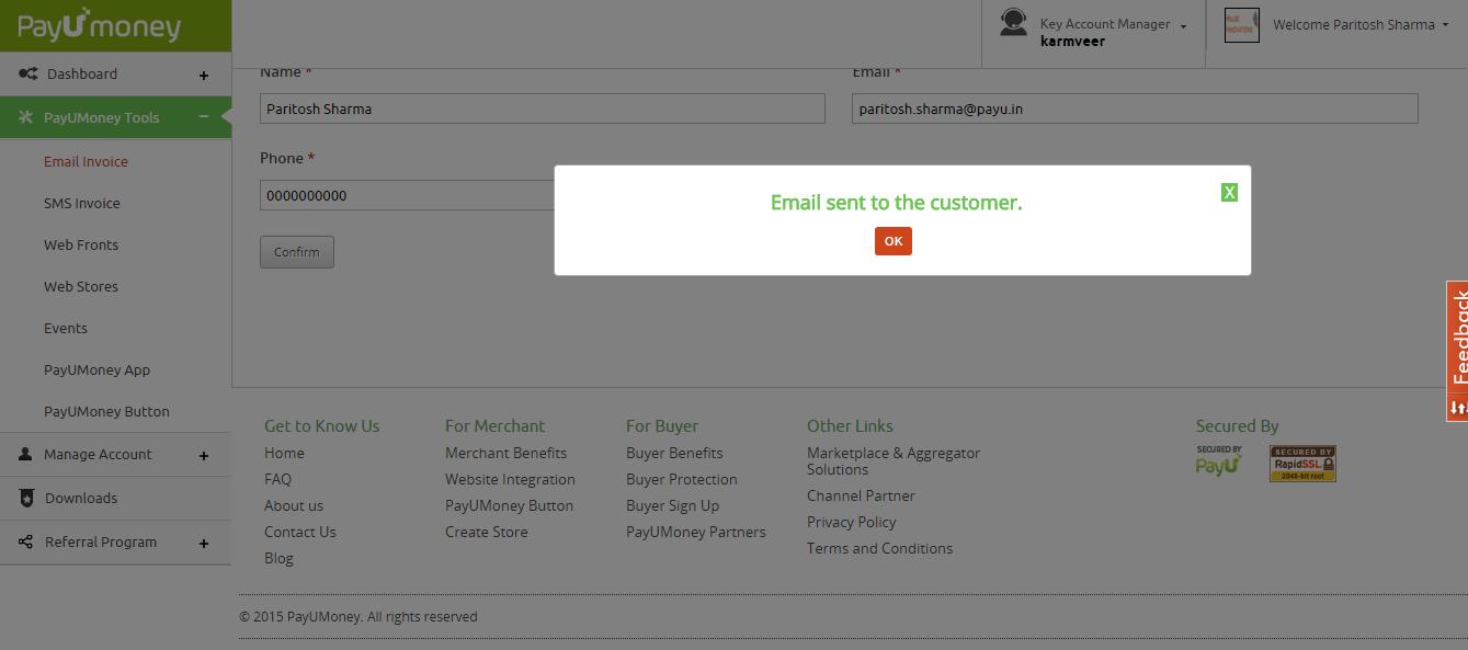 PayUmoney Email Invoice 4