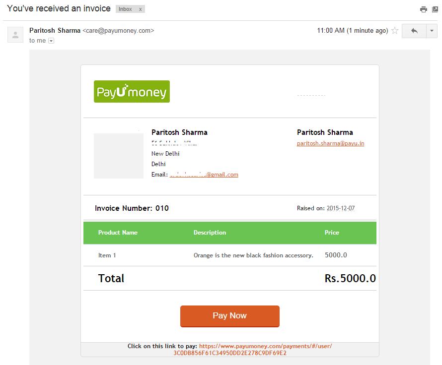 PayUmoney Email Invoice 5