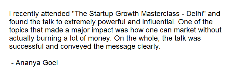 PayUmoney Startup Growth Masterclass Delhi Feedback