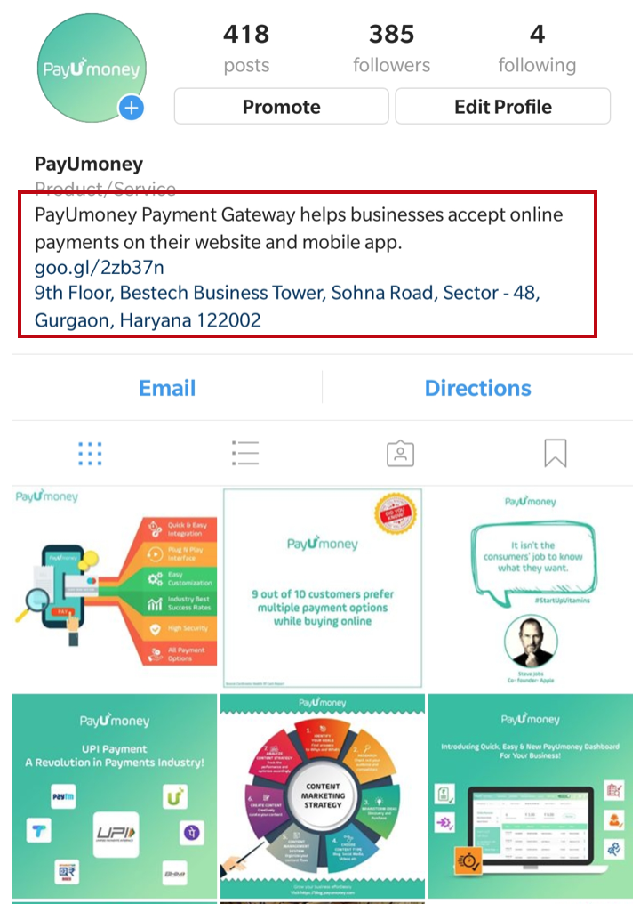 how to promote business on instagram business bio