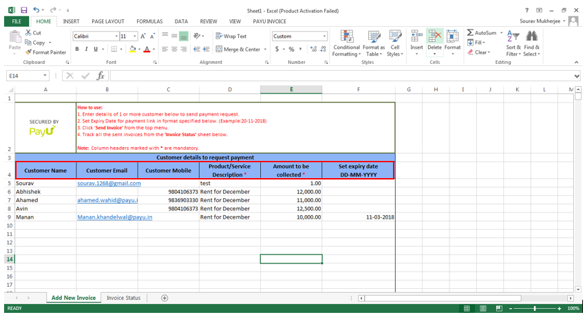 payu payments plugin for ms excel customer details