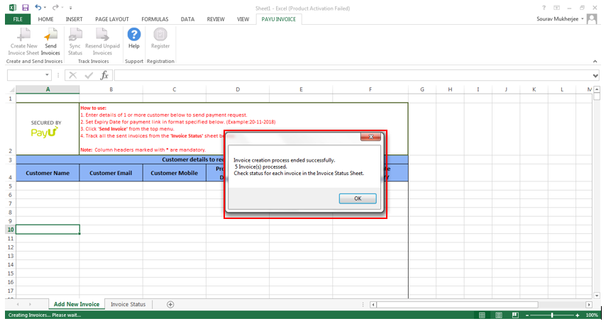 payu payments plugin for ms excel invoice sent