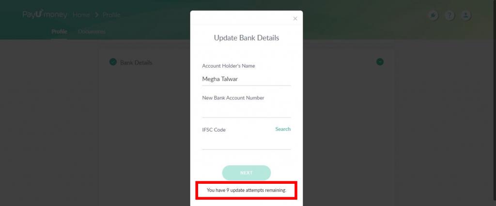 Update bank account-PayUmoney