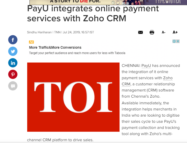 PayU_Partners_With_Zoho CRM